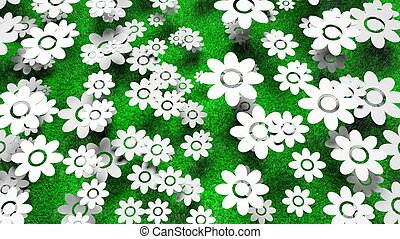 Abundant white flowers on green grass background