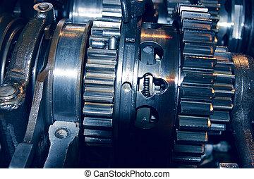 abundante, conjunto, automóvil, metal, mecanismo, greasing, engranajes, ligado