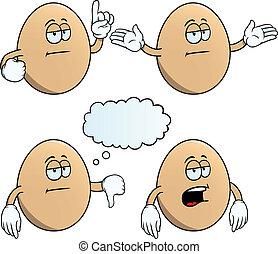 aburrido, conjunto, huevo