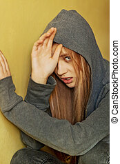 abusé, adolescent, femme, peau, défendre, essayer, elle-même