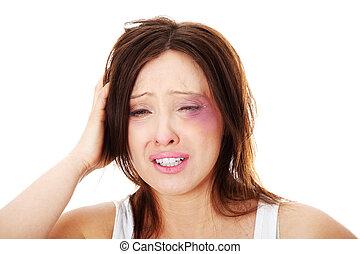 abusé, caucasien femme, mûrir, triste