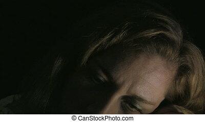 abusé, wom, dépressif, portrait