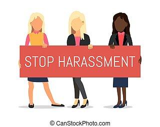 abus, illustration., harcèlement, harassment., violence, contre, vecteur, sexuel, tenue, arrêt, femmes, filles, affiche