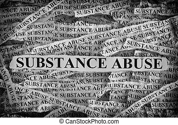 abus, mots, papier, morceaux, déchiré, substance