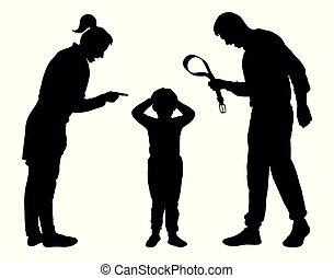 abus, silhouette, vector., justice, child., enfant, gronder, juvénile, parents