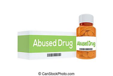 abusado, concepto, medicación, droga