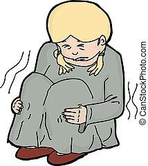abusado, ilustración, niño