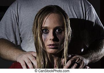abusado, mulher, com, posição homem, behi