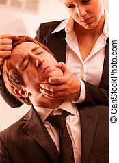 abusar, mulher, local trabalho, homem