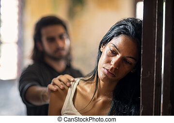 abusato, donna, violenza, domestico, giovane