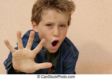 abusato, ragazzo, arrabbiato, provocatorio, mano, spaventato, o, fuori