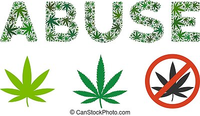 Abuse Caption Mosaic of Cannabis - Abuse text collage of...