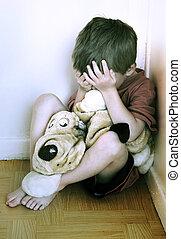 abuse., concepto, niño