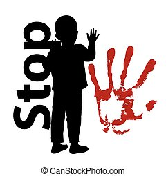 abuse., parada, silhouetted, niño