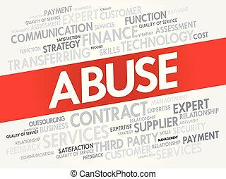 ABUSE word cloud collage, business concept background