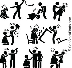 abusif, petit ami, mari, pictogramme