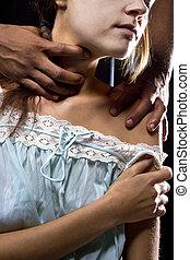 abusif, victime, derrière, femme, homme