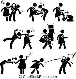 A set of pictograms representing man husband being abused by woman wife.