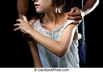 abusivo, hombre, atrás, un, hembra, víctima