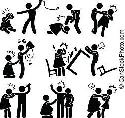 abusivo, marido, novio, pictogram