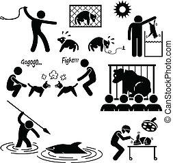 abuso, crueldad, humano, animal