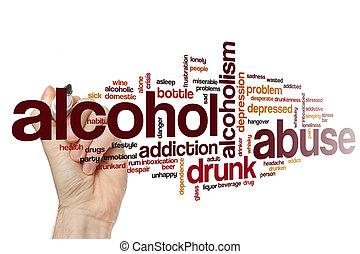 abuso de alcohol, palabra, nube