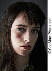 abuso, doméstico, femininas, vítima