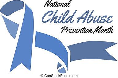 abuso, ilustración, prevención, month., vector, cinta, niño, azul, nacional