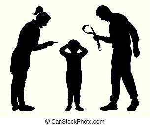 abuso, silueta, vector., justicia, child., niño, regañar, joven, padres
