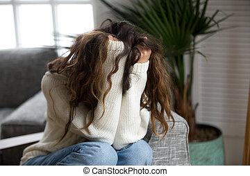 abuso, víctima, depresión, sufrimiento, hostigamiento, mujer, joven