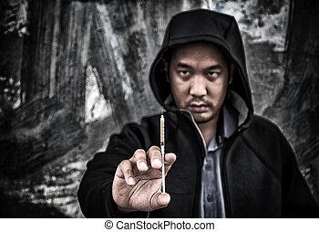 abusos de drogas, concept., sobredosis, macho asiático, drogadicto, mano, con, drogas, narcótico, jeringuilla, en, action.