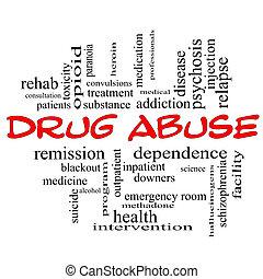 abusos de drogas, palabra, nube, concepto, en, rojo, tapas