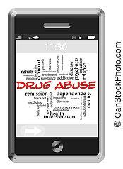 abusos de drogas, palabra, nube, concepto, en, touchscreen, teléfono