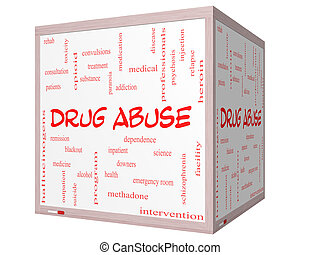 abusos de drogas, palabra, nube, concepto, en, un, 3d, cubo, whiteboard