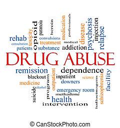 abusos de drogas, palabra, nube, concepto