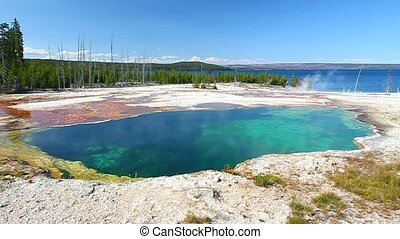 Abyss Pool of Yellowstone - Dazzling blue colors of Abyss...