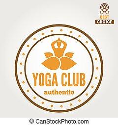 abzeichen, elemente, emblem, klub, weinlese, logotype, joga, oder, logo