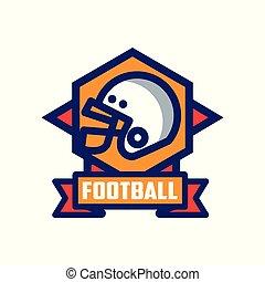 abzeichen, fußball, emblem, abbildung, amerikanische , vektor, hintergrund, mannschaft, logo, weißes, sport, schablone