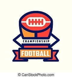 abzeichen, meisterschaft, bunte, fußball, emblem, abbildung, amerikanische , vektor, hintergrund, mannschaft, logo, weißes, sport, schablone