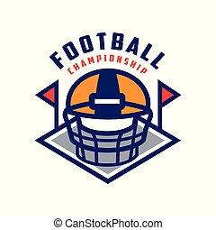abzeichen, meisterschaft, fußball, emblem, abbildung, amerikanische , vektor, hintergrund, mannschaft, logo, weißes, sport, schablone