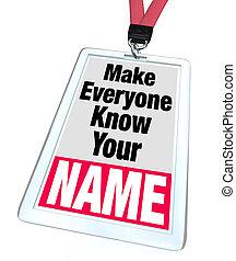 abzeichen, nametag, machen, everyone, wissen, dein, name