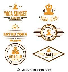 abzeichen, satz, emblem, klub, weinlese, logotype, elemente, joga, oder, logo