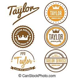 abzeichen, schneider, emblem, weinlese, logotype, elemente, oder, logo