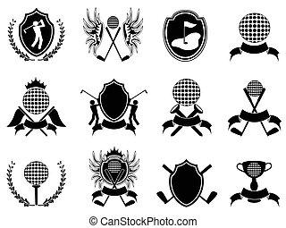abzeichen, schwarz, golfen
