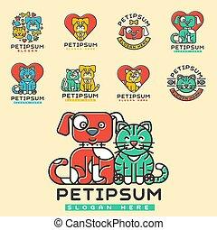 abzeichen, silhouette, zentrieren, haustier, medizin, veterinär, einheimischer hund, katz, unterstand, wohnungslose, vektor, zuflucht, tier, element., haustiere