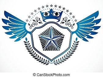 abzeichen, wappen, gemacht, elemente, sternen, gebrauchend, geschaffen, ritterwappen, kranz, zeichen, fünfeckig, vektor, krone, lorbeer, monarch