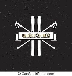 abzeichen, wildnis, logo, etikett, design., winter, weinlese...