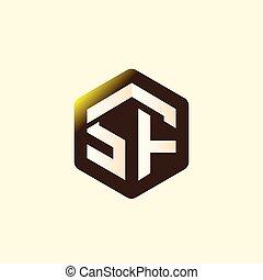 abzeichnen, vektor, brief, logo, sechseckig, sf