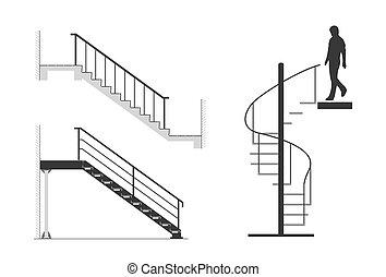 acél, állhatatos, árnykép, lépcsőfok, lépcsőház, spirál, ábra, lefelé, vektor, jár, ember