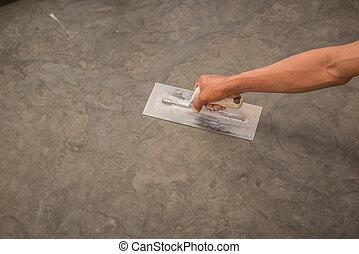acél, befejez, fényesített, kőműveskanál, felszín, kéz, beton, nedves, használ